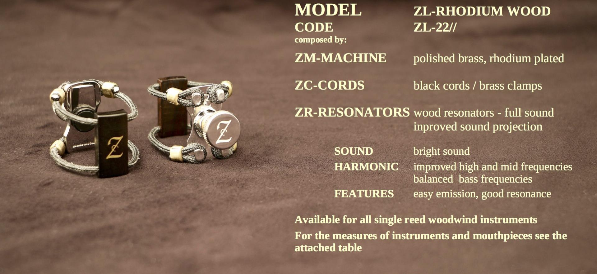 ZAC LIGATURE MODEL: ZL-RHODIUM WOOD