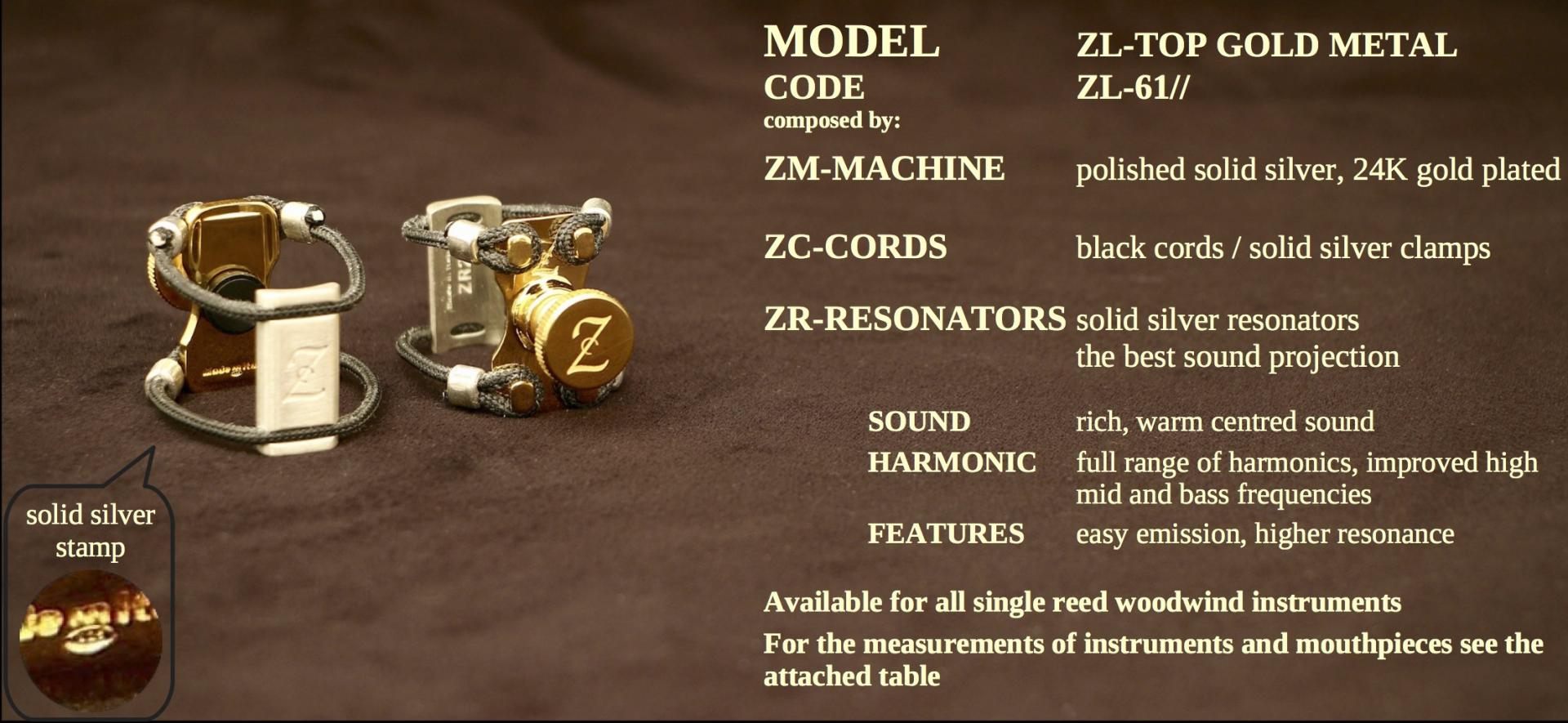 ZAC LIGATURE MODEL: ZL-TOP GOLD METAL