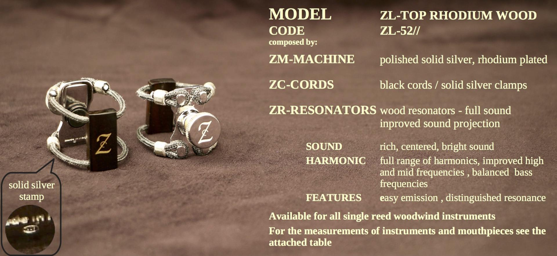 ZAC LIGATURE MODEL: ZL-TOP RHODIUM WOOD