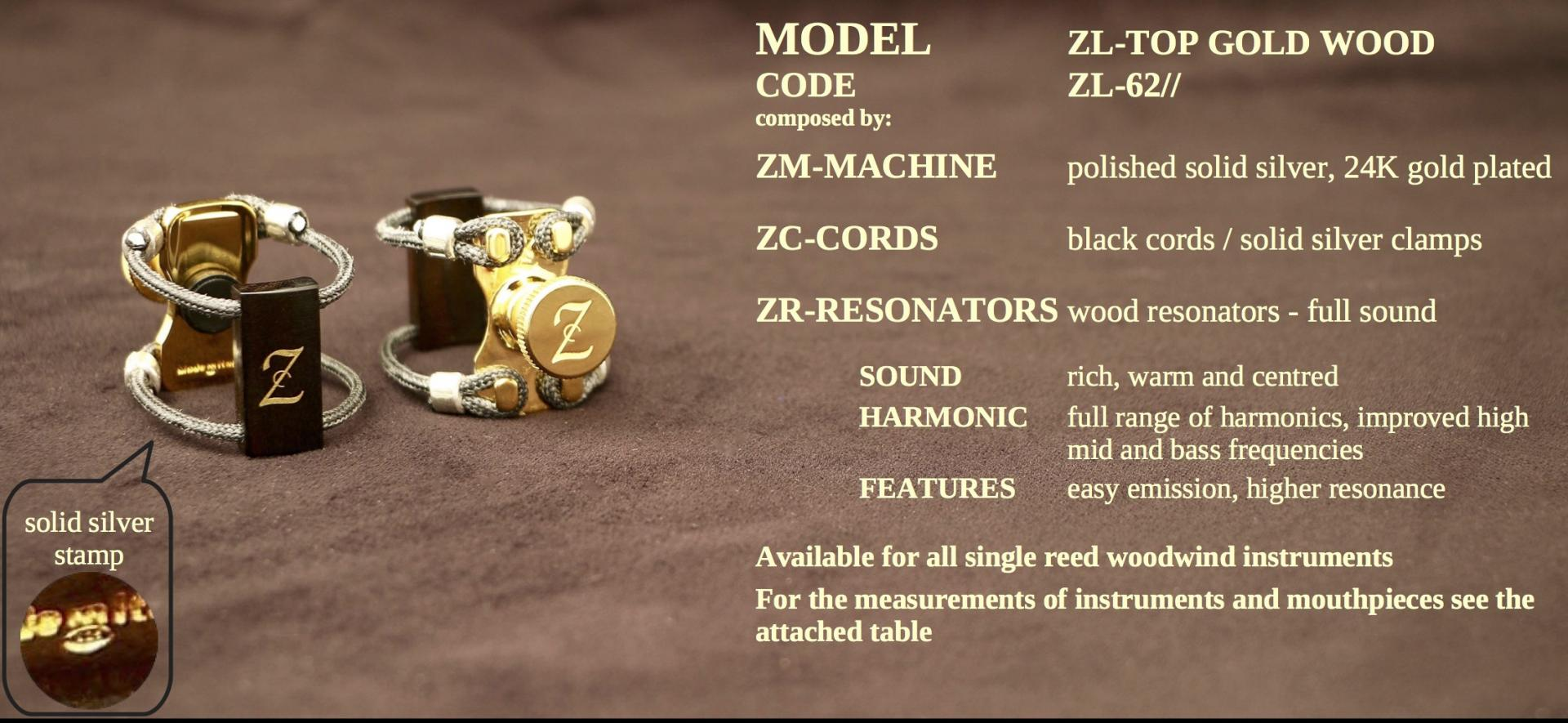ZAC LIGATURE MODEL: ZL-TOP GOLD WOOD