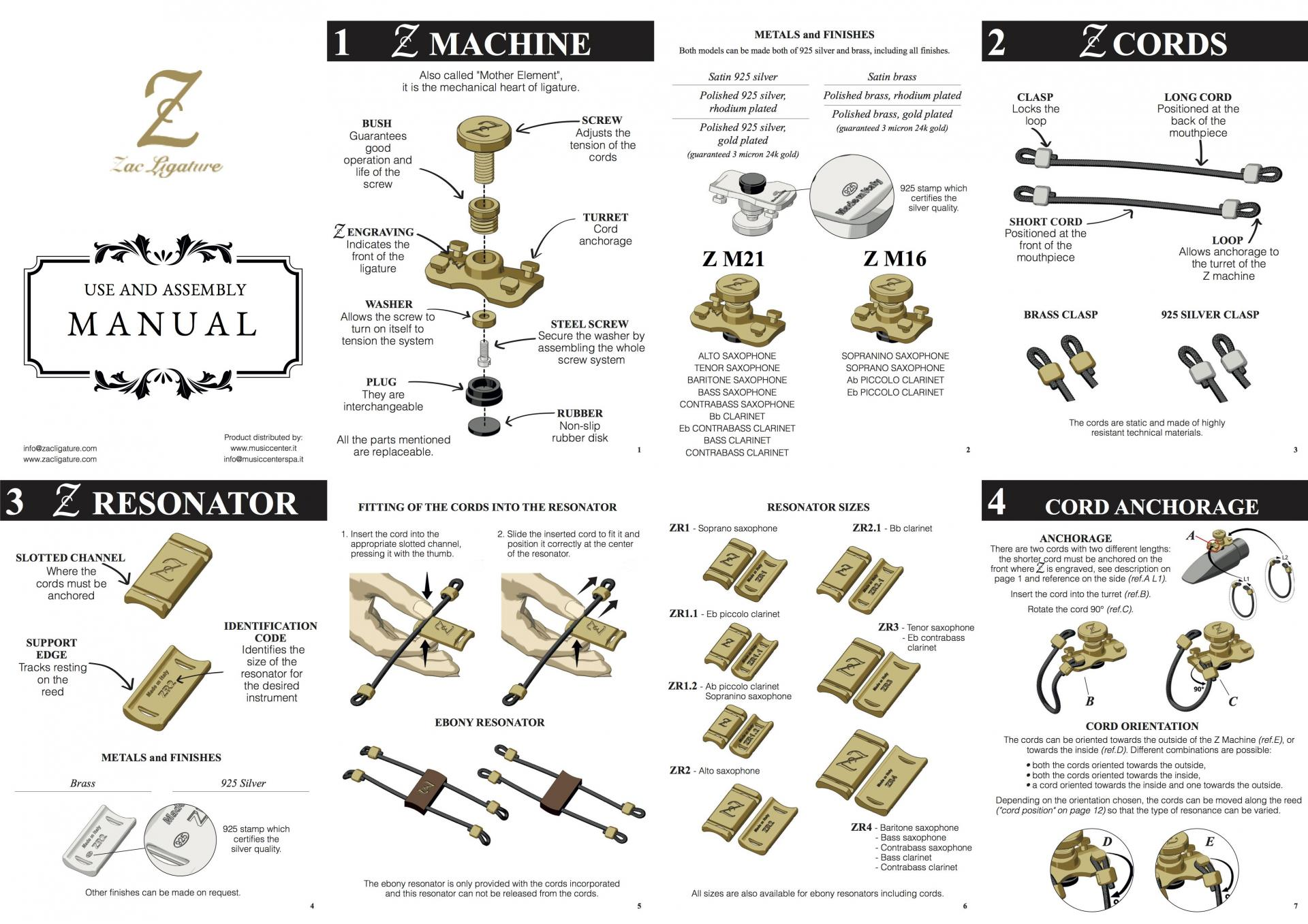 Use and assembly manual Zac Ligature Ing